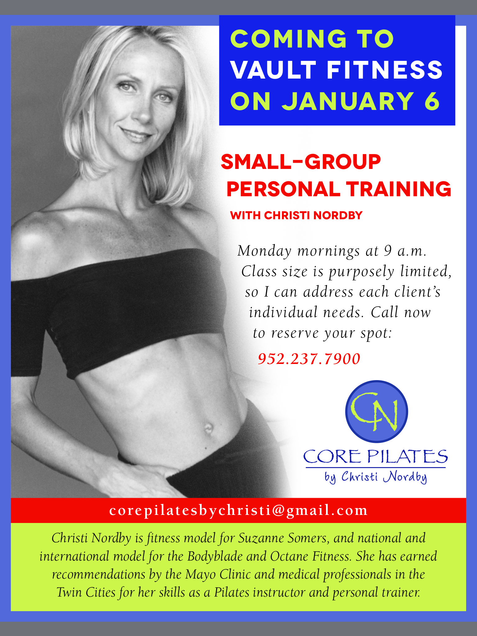 Core Pilates coming to Vault Fitness!!